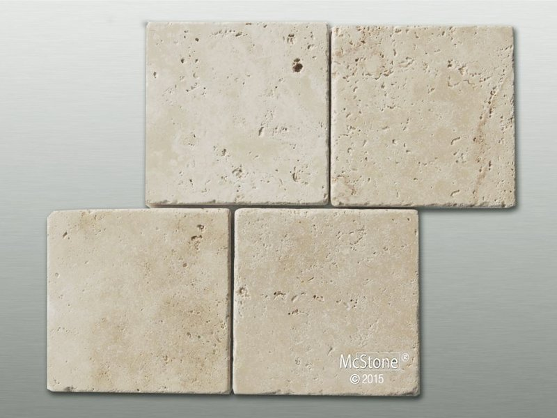 Muster Travertin Beige Light Select getrommelt 15x15x1 cm