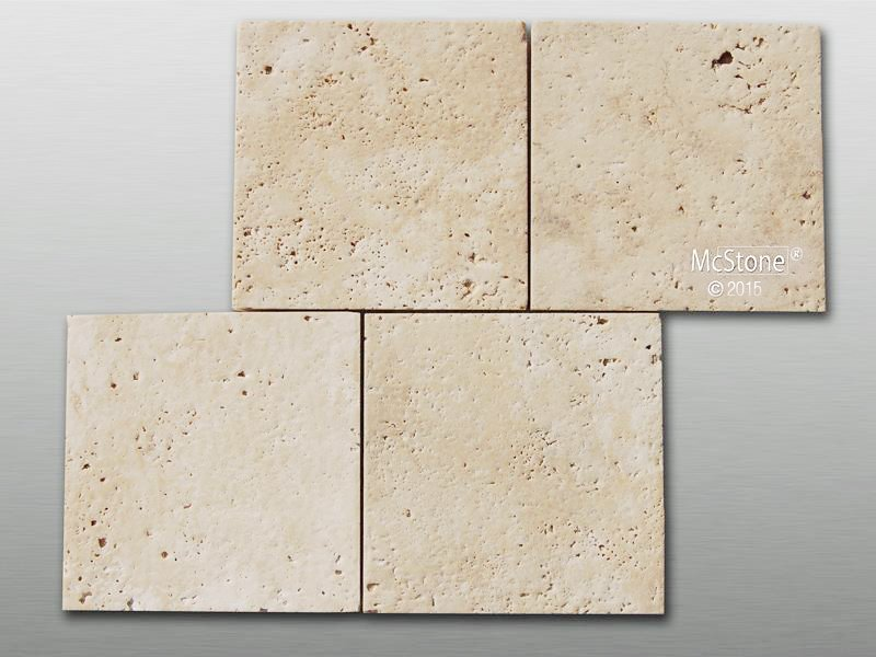 Travertin Beige Light Select gebürstet Fliese 10x10x1cm
