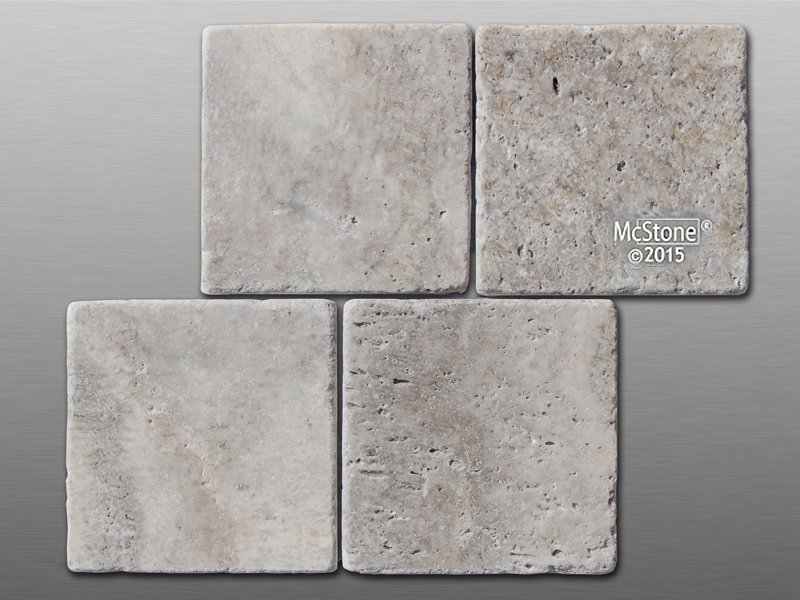 Travertin Silver getrommelt Fliese 10x10x1cm grau
