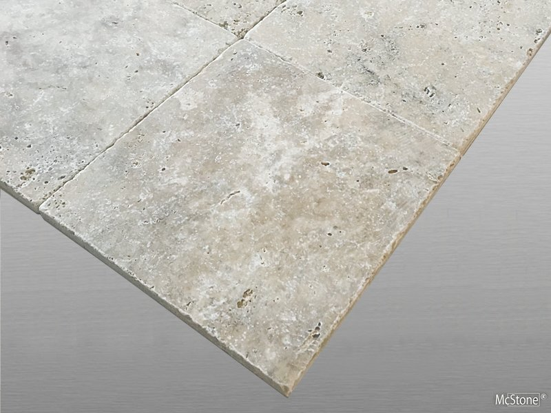 Travertin Silver getrommelt Fliese 20x20x1cm grau