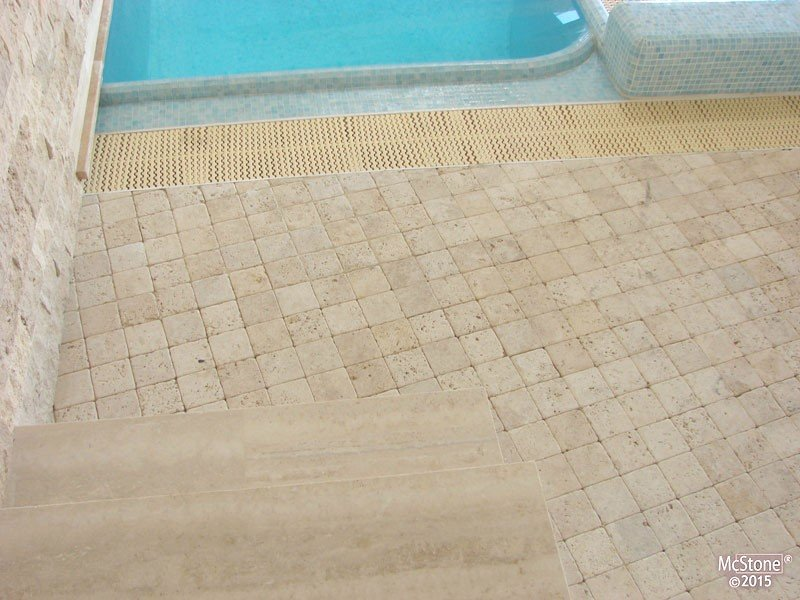 Travertin beige light select getrommelt fliese 10x10x1cm - Badezimmer travertin ...