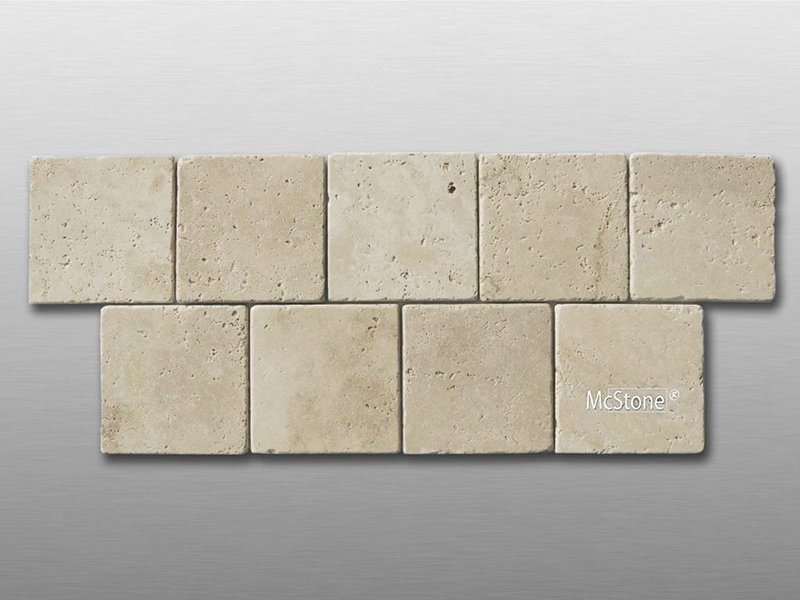 Travertin Beige Light Select getrommelt Fliese 10x10x1cm
