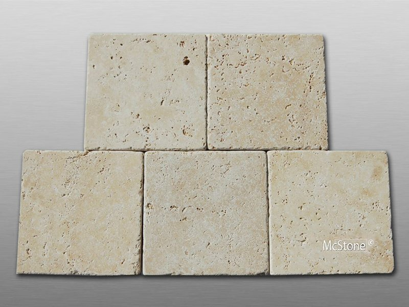 Travertin Beige Light Select getrommelt Fliese 20x20x1cm