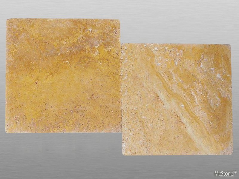 Travertin Yellow (Gold) getrommelt Platte 40,6x40,6x3 cm dunkel-gelb