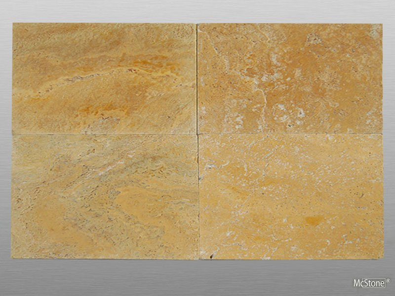 Travertin Yellow (Gold) getrommelt Platte 40,6x61x3 cm dunkel-gelb
