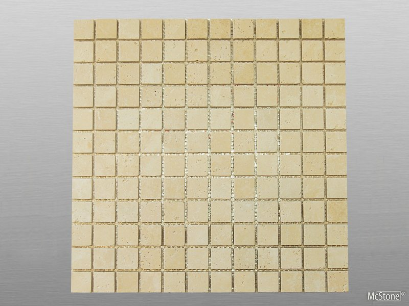 Travertin Beige Light Select getrommelt Mosaik 2,3x2,3x1 cm beige