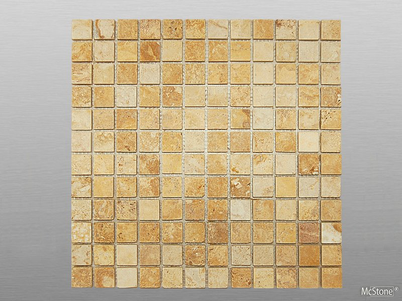 Travertin Yellow (Gold) getrommelt Mosaik 2,3x2,3x1 cm gelb/gold