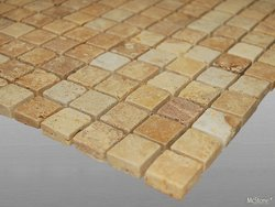 Travertin Yellow (Gold) getrommelt Mosaik 2,3x2,3x1 cm...