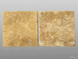 Muster Travertin Yellow (Gold) getrommelt 10x10x1 cm gelb