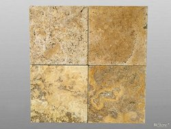 Muster Travertin Yellow (Gold) getrommelt 20x20x1,2 cm gelb