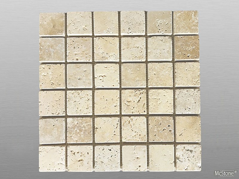 Travertin Beige Light Select getrommelt Mosaik 4,8x4,8x1 cm beige