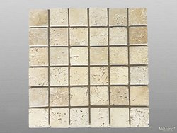 Travertin Beige Light Select getrommelt Mosaik 4,8x4,8x1...