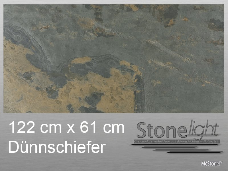 Stone light Dünnschiefer California Gold spaltrau 122 cm x 61 cm x 0,2 cm beige grau