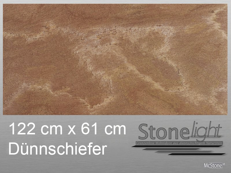 Stone light Dünnschiefer Cobre NEW spaltrau 122 cm x 61 cm x 0,2 cm rot braun grau