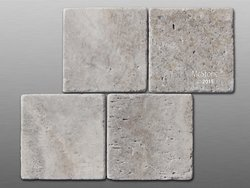 Travertin Silver getrommelt Fliese 15x15x1cm grau