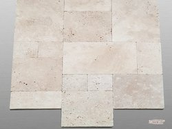 Travertin Beige Select getrommelt Fliese Miniverband beige