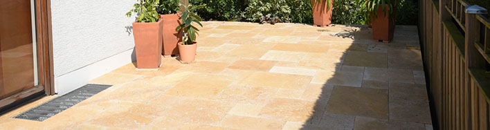 Terrassenplatten Travertin Yellow getrommelt